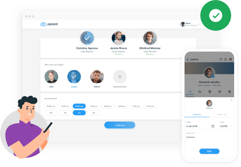 Parent solution check-in dashboard