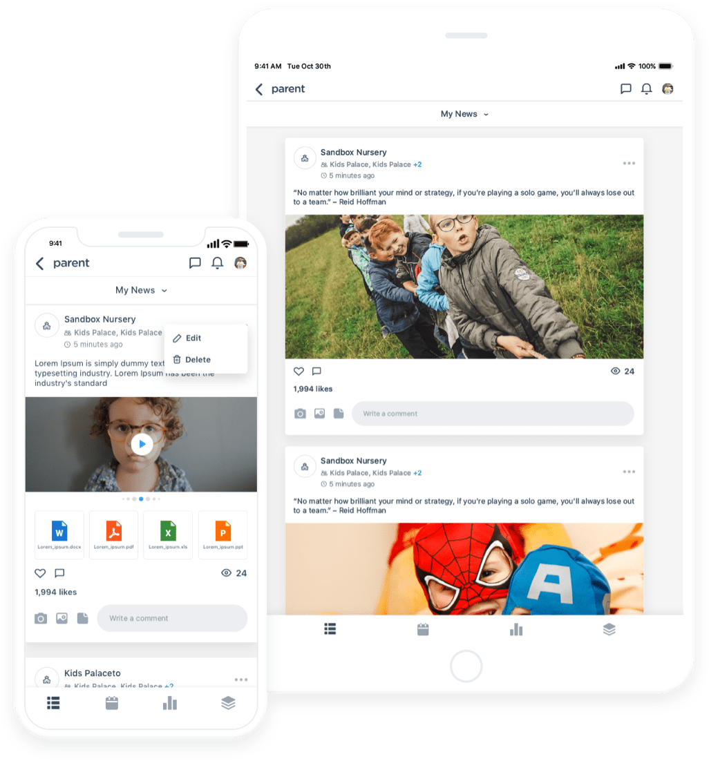 Parent child care newsfeed dashboard